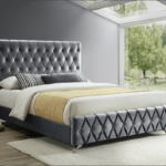 Alicia Grey Velvet Bed