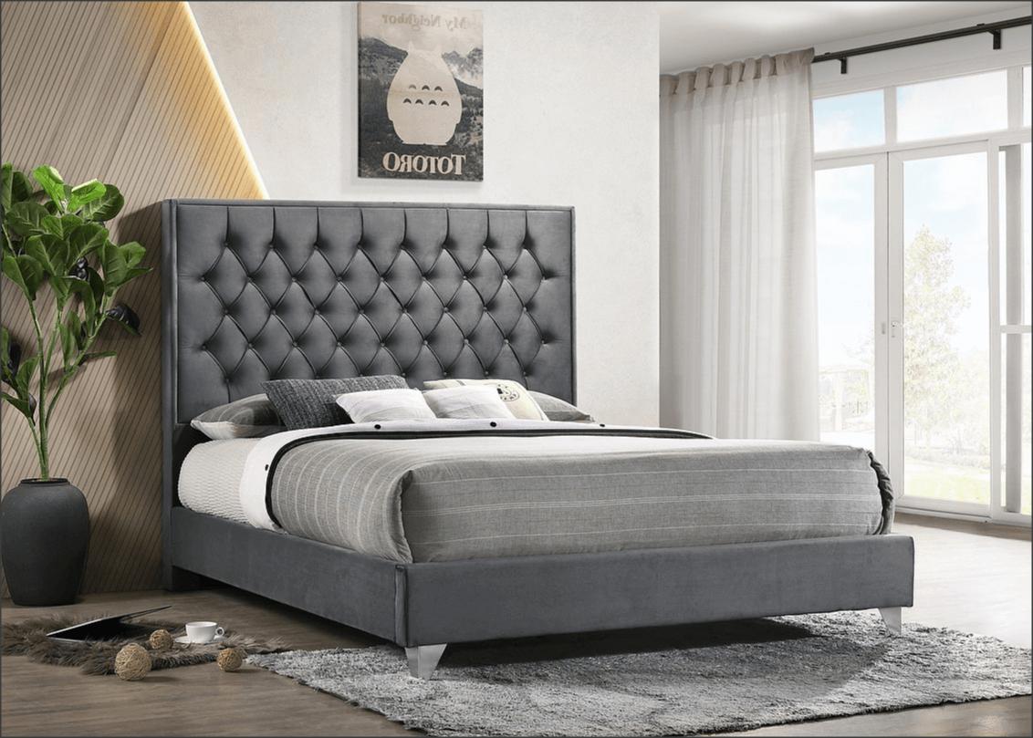 Hannah Grey Velvet Bed