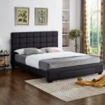 Black PU Leather Storage Bed