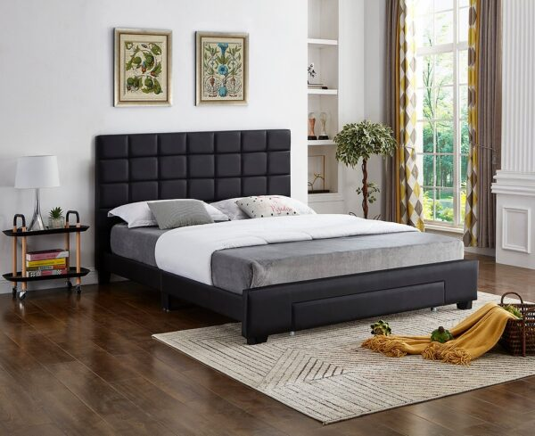 Black PU Leather Storage Bed