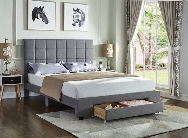 Grey Fabric Storage Bed