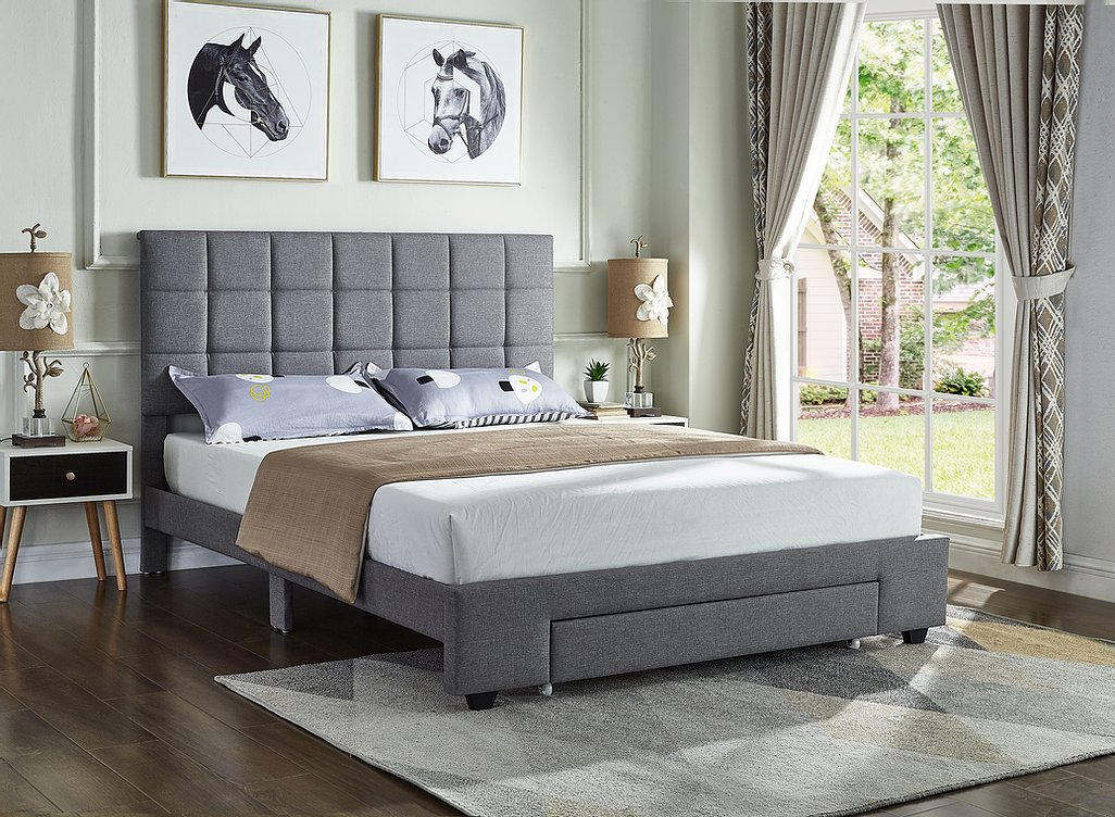 Grey Fabric Tufted Storage Bed