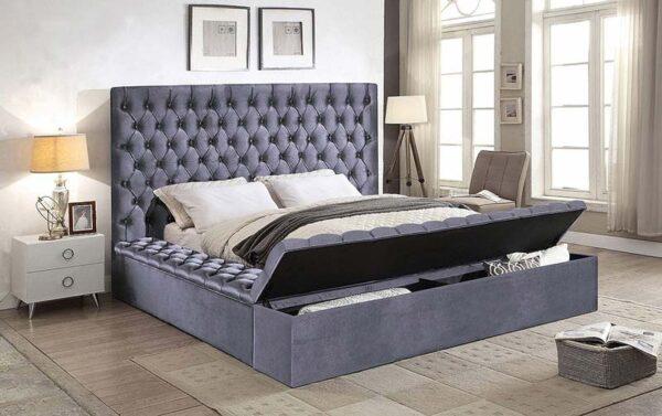 Triple storage grey velvet upholstered bed