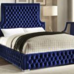 Royal Blue Velvet Bed