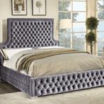 Royal Grey Velvet Bed