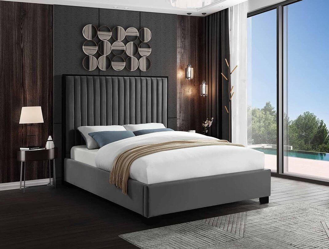 Dark Grey Velvet Bed